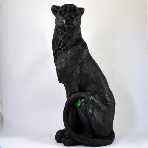 Large Ornamental Panther / Jaguar Figure Sitting Upright Weatherproof
