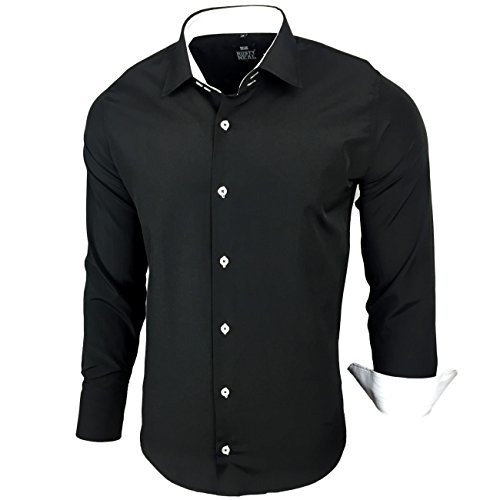 Kontrast Business Anzug Freizeit Polo Slim Fit Figurbetont Hemd Langarmhemd R-44, Farbe:Schwarz / Weiß;Größe:L