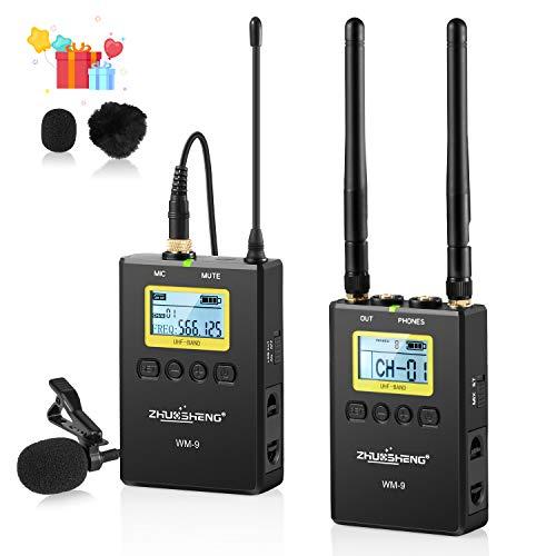Sistema microfono senza fili UHF Lavalier, ZHUOSHENG WM9 100 canali con 1 trasmettitori, ricevitore portatile, uscite XLR, 3.5 mm, Hot Shoe Mount per videocamere, fotocamere DSLR, ENG Efp Sony, 1-1