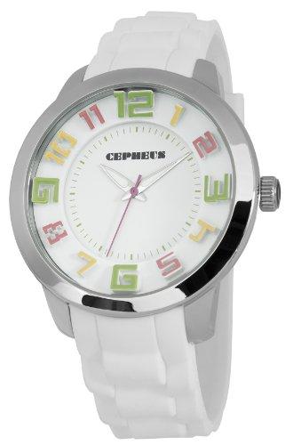 CEPHEUS CP604-186 - Reloj analógico de cuarzo para mujer con correa de silicona, color blanco
