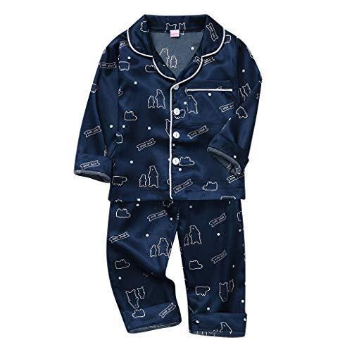Xmiral Kinder Jungen Mädchen Langarm Cartoon Shirt + Hosen Pyjamas Outfits Unisex Umlegekragen Nachtwäsche Trainingsanzug(Marine,5-6 Jahre)
