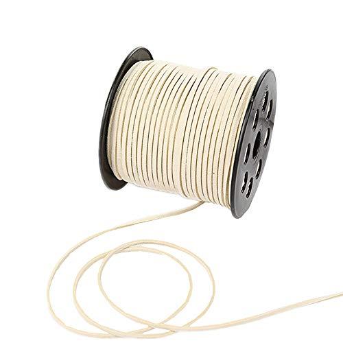 Cordón de encaje de ante sintético de 100 yardas con cordón de terciopelo suave para pulseras, collares, cabezas, joyas, atrapasueños, suministros de envoltura de regalo, beige, 100yardsx2.7mm