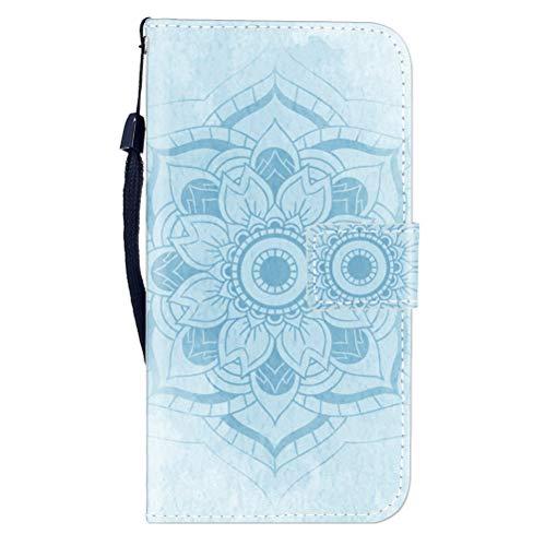 Sunrive Hülle Für OUKITEL Mix 2, Magnetisch Schaltfläche Ledertasche Schutzhülle Etui Leder Case Cover Handyhülle Tasche Schalen Lederhülle MEHRWEG(W8 Blaue Blume)