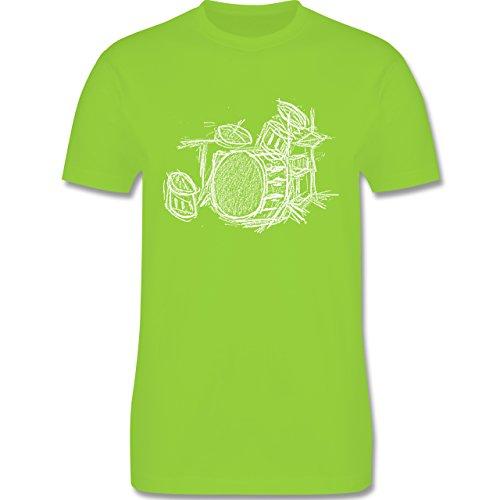 Music - Schlagzeug - Kreidezeichnung - L190 Herren Premium Rundhals T-Shirt Hellgrün