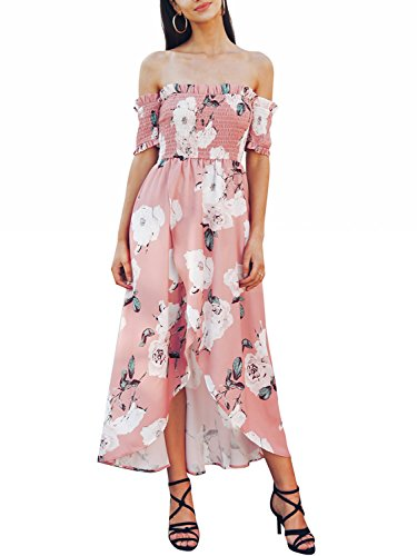 (Missy Chilli Damen Kleid Lang Sommer Elegant Schickes Off Shoulder Boho Blumen Schlitz Chiffon Maxikleid Dress Streetwear Rosa)