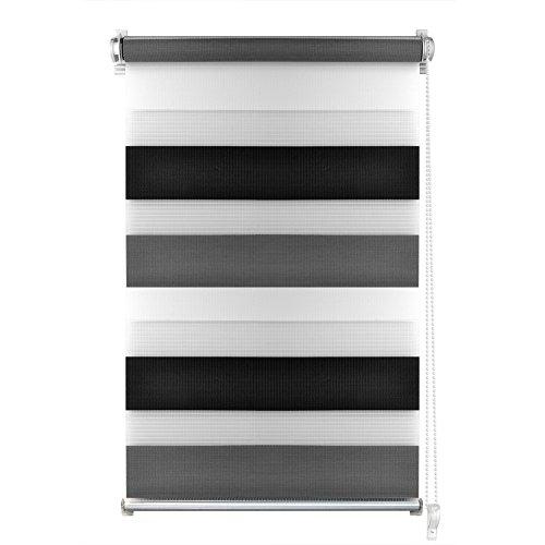 S SIENOC Tenda a Rullo Doppia Tessuto Poliestere Easy Fix Zebra Roller Blind Tenda a Rullo Oscurante per finestre (Nero-Bianco-Grigio, 60x150cm)