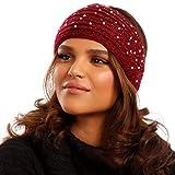 YC Fashion & Style Damen Stirnband Strick Haarband mit Knopfverschluss Schleife mit Strass Steinen Elastisch Herbst Winter (One Size, Rot)