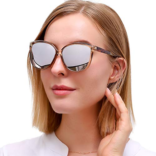 LVIOE Cat Eye Sunglasses for Women, Polarized Mirrored Lens with UV Protection, Trendy Cateye...