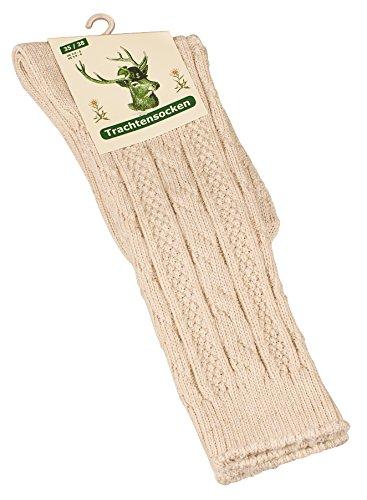 Original Trachtensocken - Trachtenstrümpfe Unisex, Zopfmuster in Naturfarben aus Leinen-Baumwollgemisch - 3