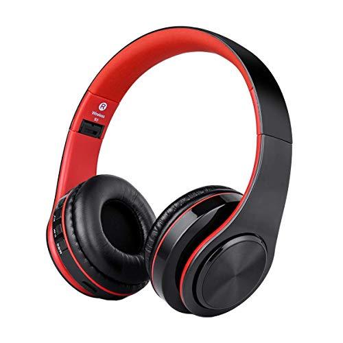 Cuffie Bluetooth Senza Fili con Microfono, ZLX Pieghevole Over-Ear Wireless Bluetooth headphones per iPhone/iPad/LG/Samsung/Galaxy/Sony/Huawei/Altri Telefoni e PC(Rosso)
