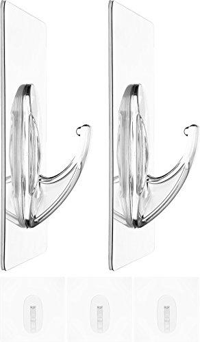 Zauber-Haken 5x Jumbo 10cm | ohne Bohren | flexibel einsetzbare Tür-Haken | Wand-Haken für Geräte, Utensilien | Kleider-Haken für Jacken, Schals, Gürtel | wiederverwendbare Badezimmer-Haken | 4,5kg belastbar | transparent
