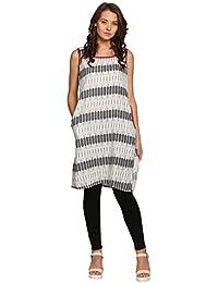 Abof Ethnic Off-white & Black Printed Regular Fit Kurta