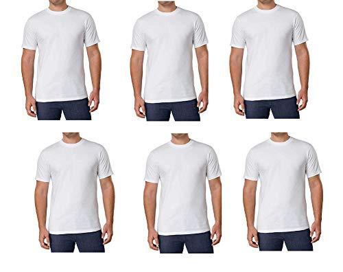 Kirkland Herren T-Shirt, Rundhalsausschnitt, 100% gekämmte schwere Baumwolle, Weiß, 6 Stück - Weiß - XX-Large