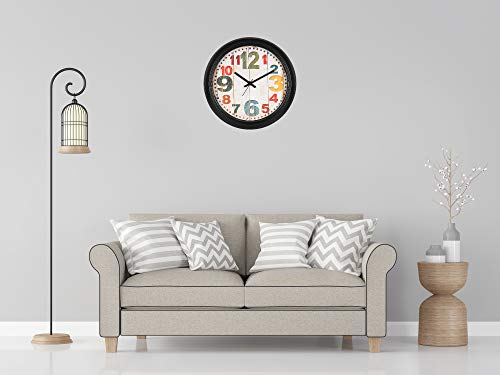 Efinito 14 Inch Wall Clock for Home Living Room Office Bedroom Kitchen Kids Room Drawing Room