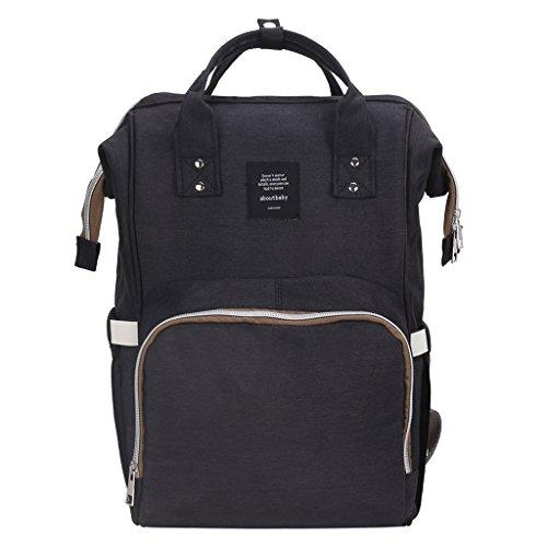Baoblaze Wickeltasche Pflegetasche Kindertasche Babytasche Tragetasche Reise Rucksack für Mama Mutterschaft - Schwarz (Mutterschaft Oxford)