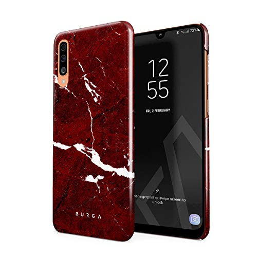 BURGA Hülle Kompatibel mit Samsung Galaxy A50 Handy Huelle Iconic Rubin Rot Marmor Muster Ruby Red Marble Mädchen Dünn, Robuste Rückschale aus Kunststoff Handyhülle Schutz Case Cover