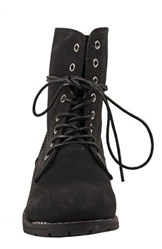 Laços Boots Munique Elara Botas Óptica Elara Motociclista Pretos De Stiefeletten München Senhoras E botas Schwarz Tornozelo Lederoptik De Damen Schnürstiefeletten Couro Biker Bequeme Confortáveis RgqgHr8n