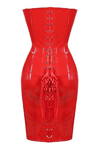 XGGZ Damen Korsett Kleid Korsage Steampunk Sexy Gothic Wetlook PVC Leder Vollbrust Lang ()