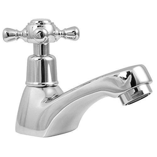 Welfenstein Kaltwasser Armatur KW-4T3 Wasserhahn mit Kreuzgriff für Gäste-WC, Retro Nostalgie