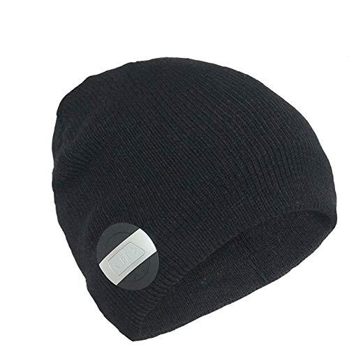 LETAMG Bluetooth Hut Bluetooth-Headset, Wintermütze, Smart-Hut, drahtlose Bohnen, Bluetooth-Headset-Kappe und Lautsprecher-Mikrofon, Herren, Schwarz - Herren-bohnen