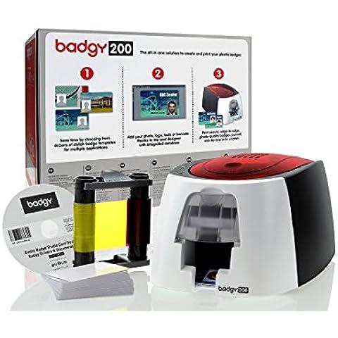 Evolis Badgy ID Printer - Impresora para insignias de plástico, rojo