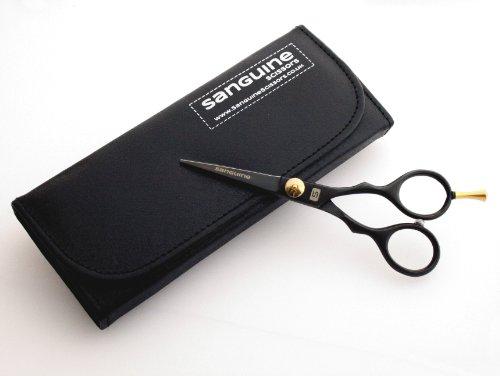 Sanguine® Ciseaux Professionnels Ultra aiguisés pour Moustache et Barbe, Noir, 14 cm