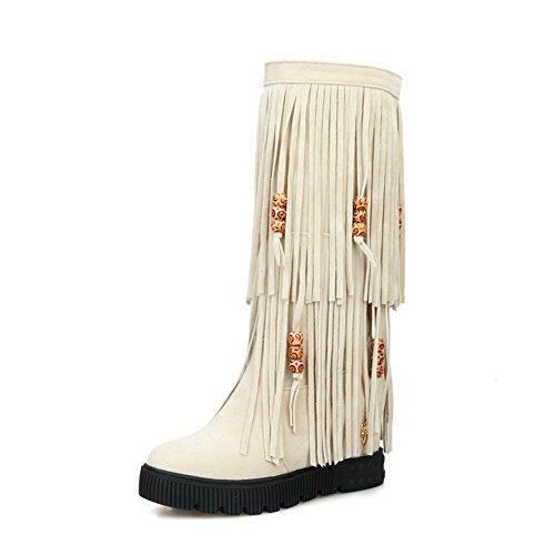 AgooLar Damen Mittler Absatz Hoch-Spitze Ziehen auf Mattglasbirne Rund Zehe Stiefel, Cremefarben, 38