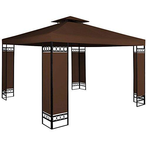 Bakaji gazebo da giardino 3x3 mt struttura in acciaio inox con separè paravento in tessuto antivento colore marrone arredo giardino terrazzo ambienti esterni