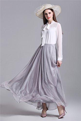 Minetom Donna Senza Maniche Casual Estate Moda A-Linea Dress Abito Vestito Elegante Spiaggia Lungo Tulle Elastico Bund Gonna Grigio
