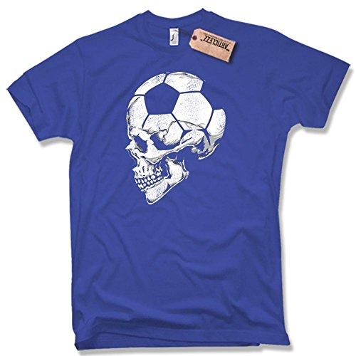 FUSSBALL SKULL T-Shirt, Oldschool, verschiedene Farben, Gr. S - XXL blau / royal blue