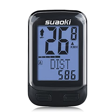 Suaoki Wireless 2.4GHz Transmission Bike Cycling Computer with Cadence Sensor Bicycle Speedometer Odometer Track Calories User A/B Backlight Water Resistant etc 22