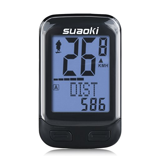 Suaoki Fahrradcomputer Kabellos, Fahrrad Computers Drahtlos Tachometer Fahrradtacho LED-Hintergrundbeleuchtung mit Bewegung Sensor für Radsport Realtime Speed Track