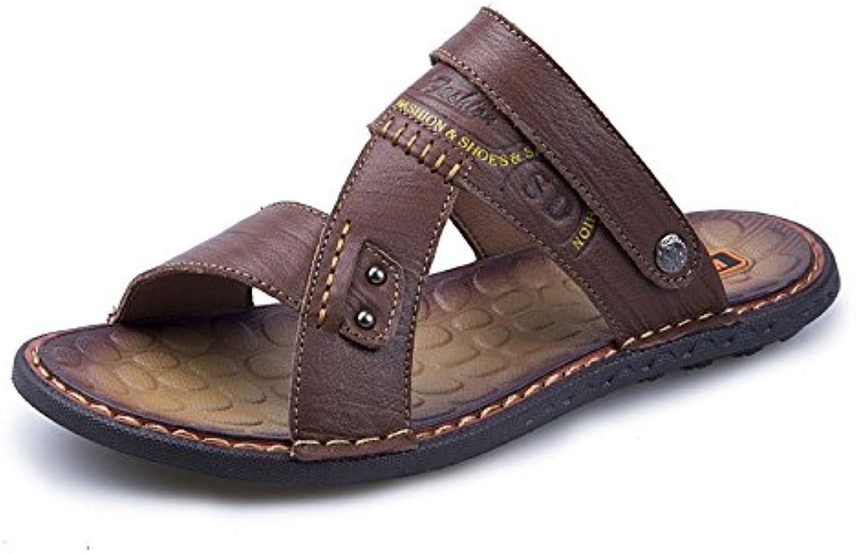 LEDLFIE Sandalen Mode Freizeitschuhe Herren Strandschuhe DarkBrown 40