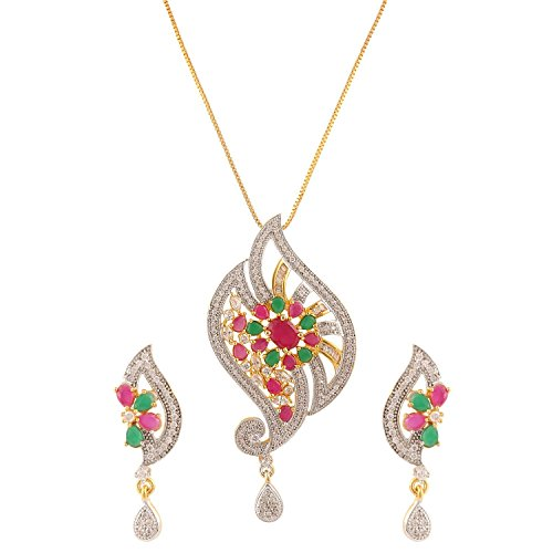 Swasti Jewels Peacock Shaped CZ Zircon Fashion Jewellery Set Pendant Earrings for Women