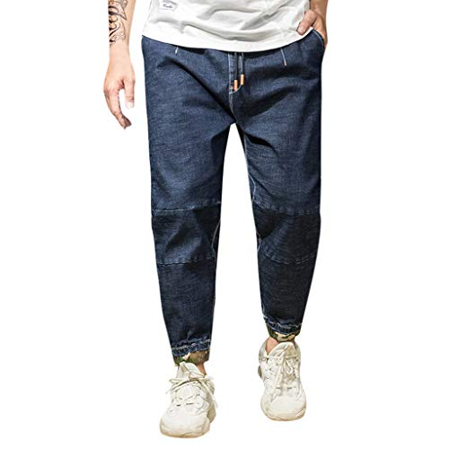 Innerternet ❤️ Oversize Pantaloni Jeans Harem da Uomo con Coulisse Pantaloni Uomo Cotton Larghi Comode con Tasche Hip-Hop Stile Jogging Casuale Leggere Traspirante (S-6XL)