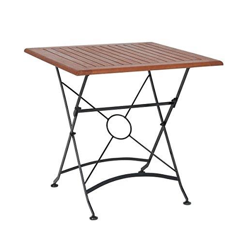 greemotion Table de Jardin Pliante Borkum – Table de Jardin 2 Personnes – Table Pliante d'appoint – Table métal Pliante – Table Bois et métal – Petite Table Pliante d'extérieur 75 x 75 cm