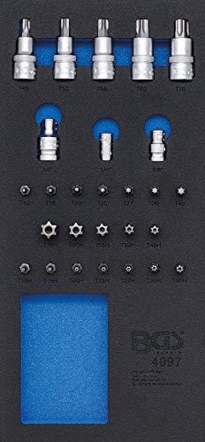 BGS 4097 | Insert de servante d'atelier 1/3 : Assortiment d'embouts et de douilles à embouts | 27 pièces
