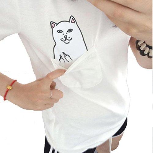 Aza Boutique, T-Shirt mit Tasche in College-Studentin-Stil mit Mittelfinger zeigende Katze, Kappe, iPhone-Hülle Gr. L, 1_Tee_white