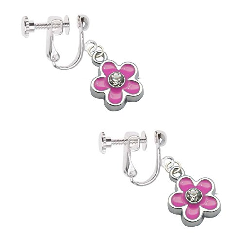 kids-clip-on-screw-type-earrings-pink-flower-with-crystal-with-free-trinket-gift-box