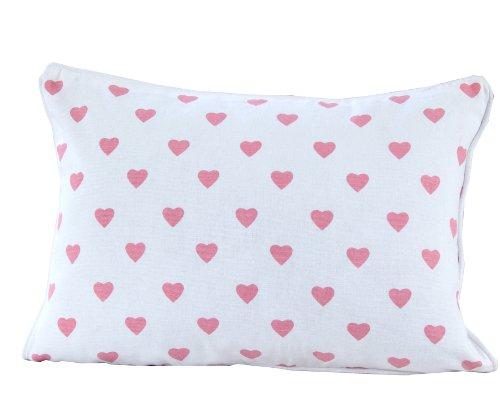 Homescapes dekorative Kissenhülle Hearts, rosa, 30 x 50 cm, Kissenbezug mit Reißverschluss aus 100% reiner Baumwolle