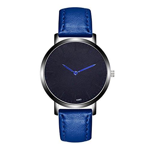 Jiameng orologio da polso, moda elegante orologio classico orologi analogici del quarzo della lega analogica della banda di cuoio di modo nuovi orologio da cintura k083-1 (blu)