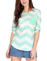 Allegra K Women's Chevron 3/4 Roll Up Sleeves Round Neck T-shirt