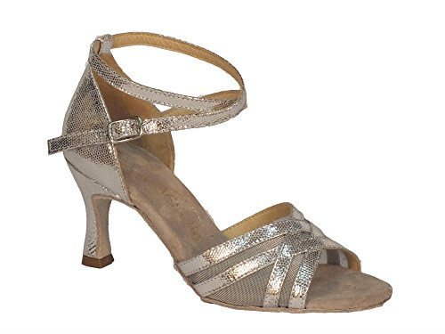 Scarpa da donna per ballo latino-americano nappa satinato argento e rete colore argento tacco 70N (Taglia 37)