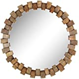 Deco 79 77125 Wood And Iron Brick Design Round Wall Mirror, Brown