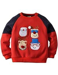 Minizone Sudaderas para Navidad Niños Camisetas de Manga Larga Pull-Over Bebé Lana Sweatshirt Casual Ropa de Navidad
