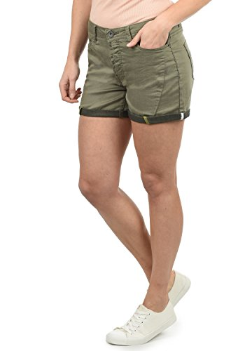 DESIRES Elja Damen Jeans Shorts Kurze Denim Hose Boyfriend-Shorts Aus Stretch-Material Loose Fit, Größe:40, Farbe:Dusty Olive (3784) - Samt 5-pocket-hose