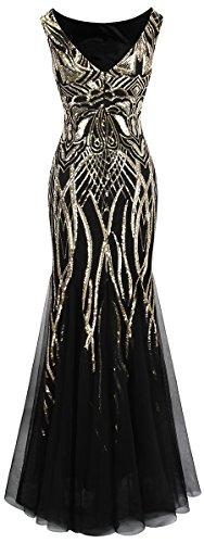 Angel-fashions Damen Ohne Arm Pailletten Baum Ast Net Meerjungfrau-Kleid-Kleid (XL, Schwarzes Gold) - 2