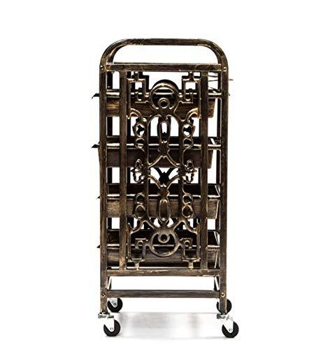 Friseurwagen Salon-spezialwerkzeuge Heiß Gefärbtes Retro-fünf-schichten-regal Solide Und Stabil Tragfähigkeit 360 ° Drehbares Universalrad,36x32x86cm -