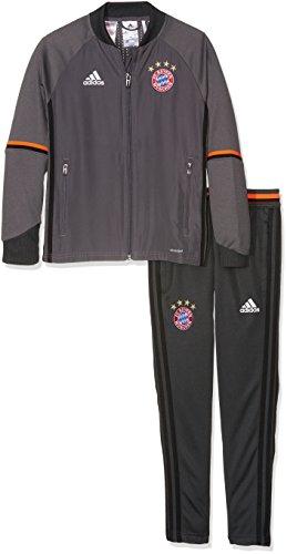 adidas Kinder FC Bayern München Trainingsanzug, Jacke: Granite/Solar Red Hose: Dgh Solid Grey, 128