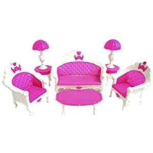 Fashion Lovely Toy Barbie Doll Pink Sofa Chair Desk Lamp Furniture Set,CUTE